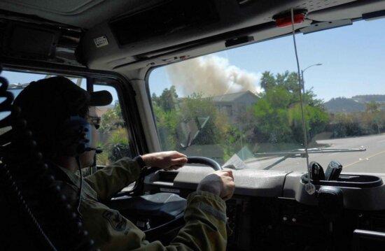 firefighting, crew, fire, truck, responding, fire