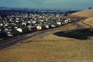 tiro, colina, mostrando, urbano, el desarrollo