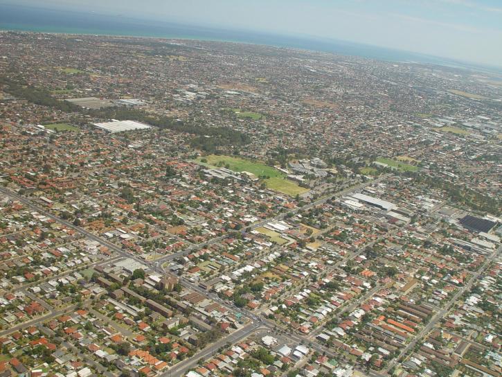 Adelaide, vzduch, Austrálie, s výhledem na město