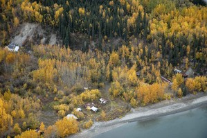 aerial, old, bettles, town, site, Alaska