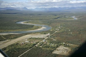 Antenne, bettles, villiage, koyukuk, Fluss, Alaska