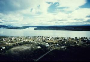 aérea, pueblo, Kaltag, Yukon