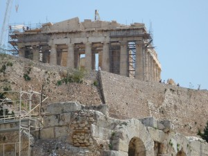 antique, grec, temple, architecture, reconstruction
