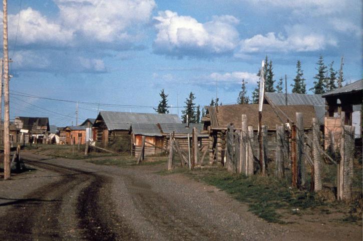 Fort, Yukonvillage, ligger, grænser, Yukon, lejligheder