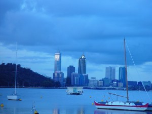 perth, skyline, swan, river, foreshore