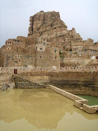 renoviert, Jadaan, Zisterne, Jemen, gebaut, natürlich, Stein, schützt Wasser