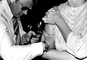adulte, réception, vaccination, jet, injecteur, porcine, la grippe, à l'échelle nationale, la vaccination, campaignn