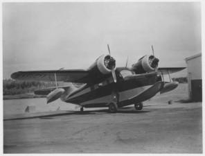 big, transportation, seaplane, shore, vintage, photo