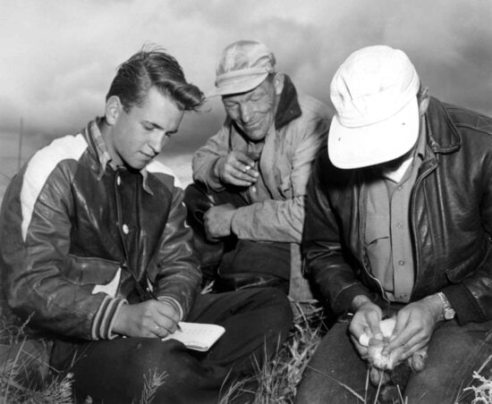 biologists, personnel, field work, vintage, photo
