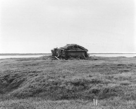 black and white, image, log, cabin, open, tundra, area
