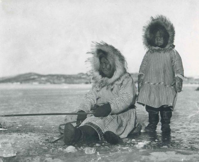 orang Eskimo, wanita, gadis, es Memancing