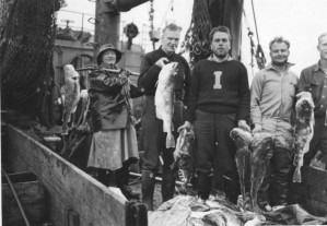 Fischer, Boot, Fisch, gefangen, Posing, Kamera, antik, Foto