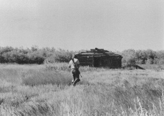 grayscale, photo, man, walking, grassy, terraine, twords, log, cabin