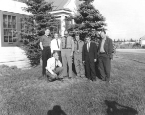 group, photo, seven, men, posing, camera