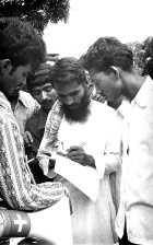 Bangladesh, man, filling, information, gathering, questionnaire, pertaining, knowledge