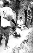 crouching, man, preparing, bifurcated, needle, vaccinate, man, foreground