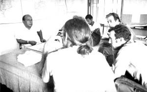 les gens, les fonctionnaires, réunion, discuter, stratégies, vieille photo
