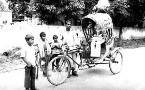 getting, word, out, village, community, riding, rickshaw