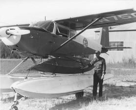 povijest, foto, čovjek, stoji, plovak, avion, tlo