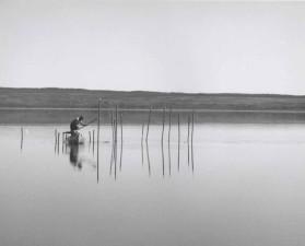 historie, bilde, fisker, jakt, små, båt, lake