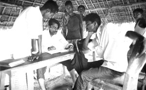 lokale, Bangladesh, menn, analysere, samlet, data, feltet, beliggenhet