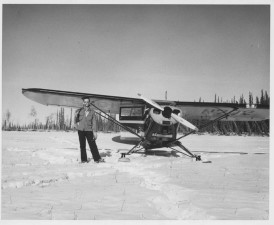 man, stands, front, small, plane, snow