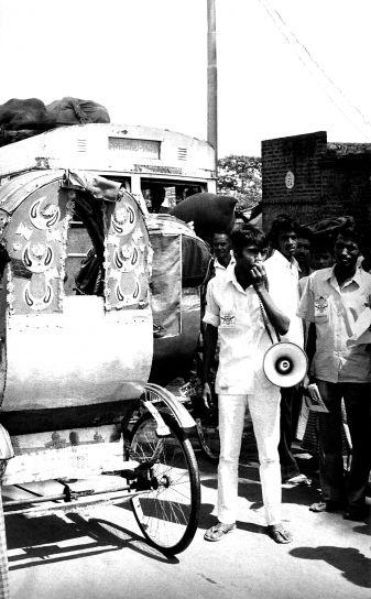 mikrofon, rukom, lokalno, Bangladeš, čovjek