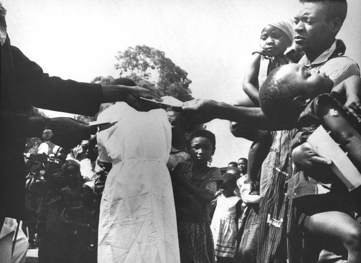 nigerian, Eltern gebracht, Kinder, Pocken, Impfungen