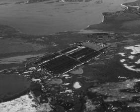 viejo, historia, aéreo, foto, tubería, almacenamiento, prudhoe, bahía