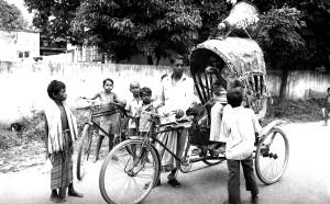 riding, rickshaw, mounted, megaphone, horn
