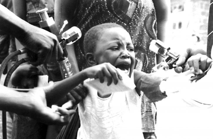 la variole, la vaccination, à l'ouest, africaine, enfant