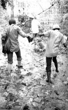 people, walk, mud, vintage photo