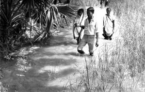 team, members, shown, slogging, village, backwaters