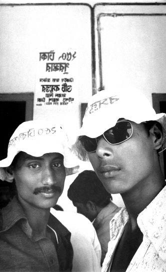 dwa, Bangladesz, mężczyzn, stojący, przednia, plakat