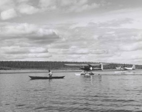 history, vintage, photo, canoe, two, float, planes
