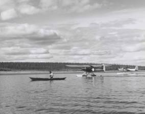history, vintage, photo, canoe, two, float, planes