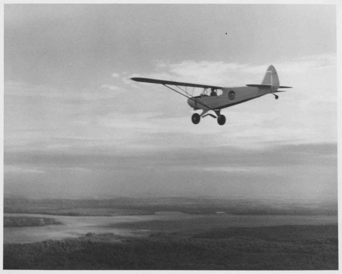 маленький, старый, биплан, самолет, полет