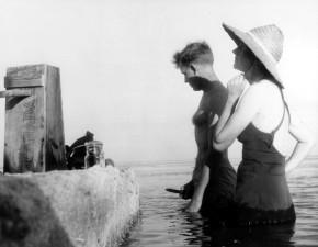 мужчина, женщина, вода, старый, Винтаж, Фото