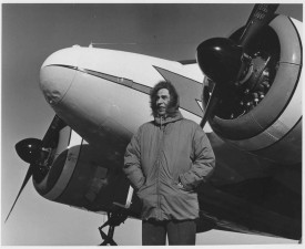 man, beside, plane, vintage, aging, stock, photo