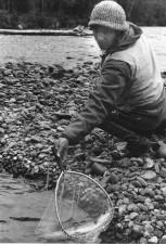 homme, pêche, cru, noir et blanc photographie