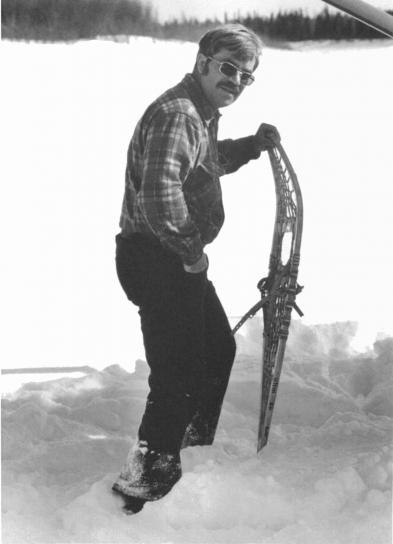 man, holding, equipment, walking, snow