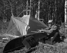 man, camp, beside, camp, tent, vintage, photo