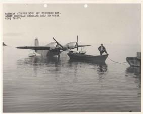 man, small, boat, waterplane, vintage, photo