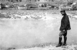 uomo, fiume, vintage, immagine