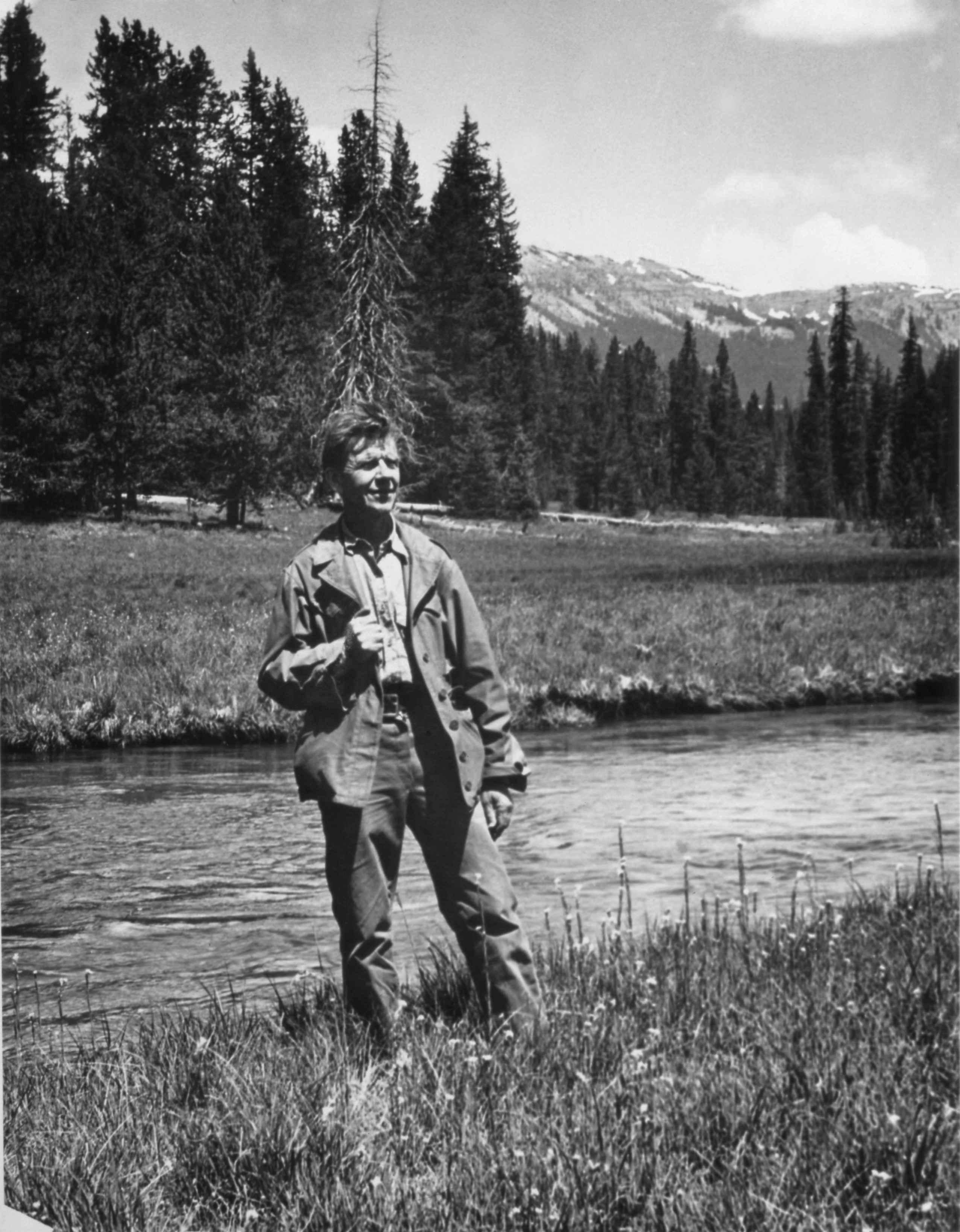 free picture  man  standing  creek  bank  vintage  photo