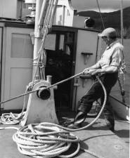 man, work, boat, vintage, photo