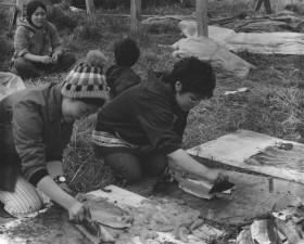indigène, alaska, les femmes, la photographie en noir et blanc
