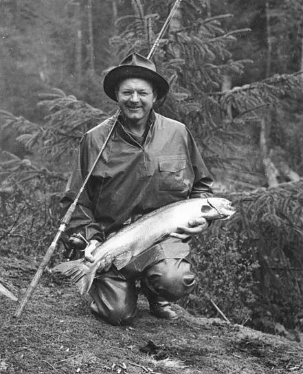 stara, fotografija, ribar, držanje, uhvaćen, riba