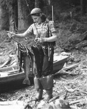 old, photo, woman, holding, fisherman, caught, fish