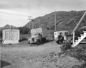 vieux, vitntage, garage, camions, cour
